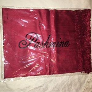 Solid Merlot color Pashmina with fringe